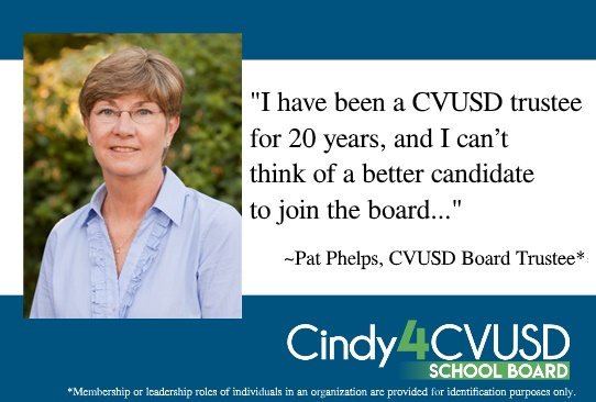 Cindy Endorsed by CVUSD Board Member Pat Phelps